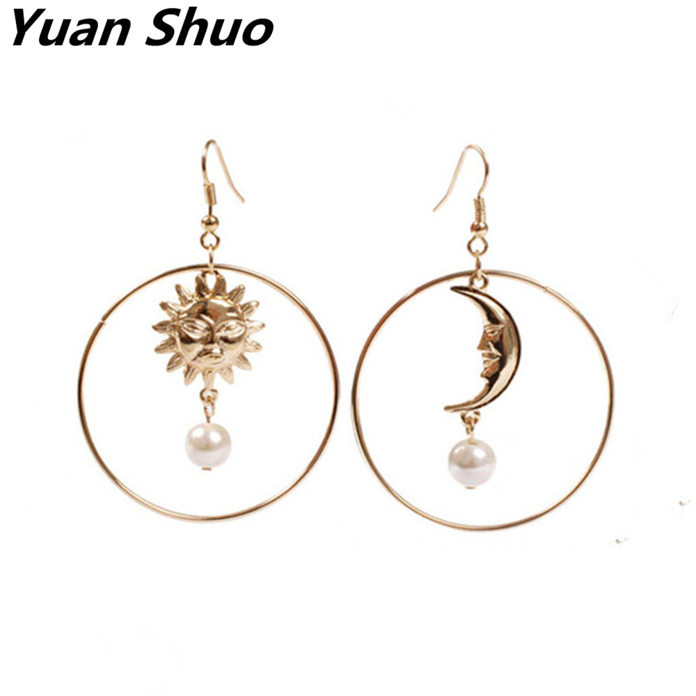 Anese New Winter The Sun And Moon Asymmetric Ms Imitation Pearl Earrings 2017 Jewelry Factory Direct
