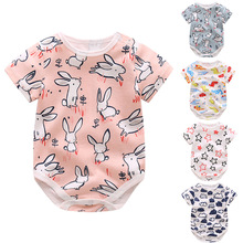 2019 New Born Baby Girls Boys Summer Clothing Cute Short Sleeved Cartoon Printed Bag Fart Rompers Infant Cotton Body Suit