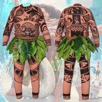 Full Set Movie Moana Princess Maui Cosplay Costume Princess Vaiana Maui Costume For Adult Top Pant