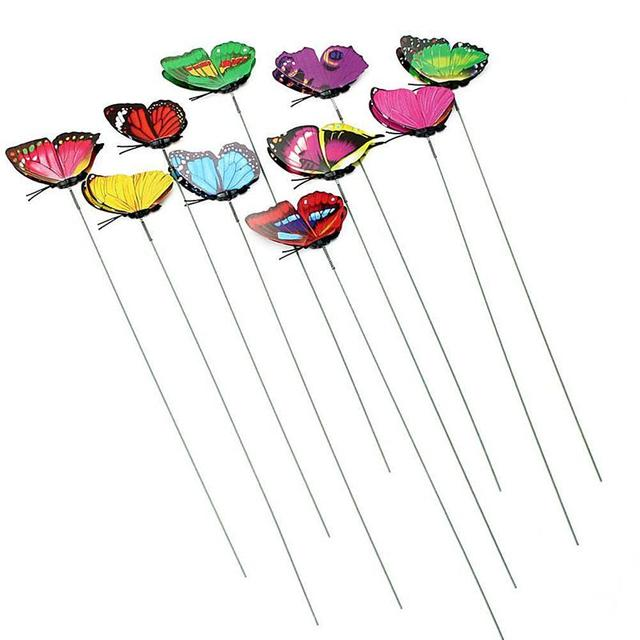 30pcs 12cm Butterfly Stakes Outdoor Yard Planter Picks Flower Pot Stick Bed Garden  Decor Butterflies Decorations