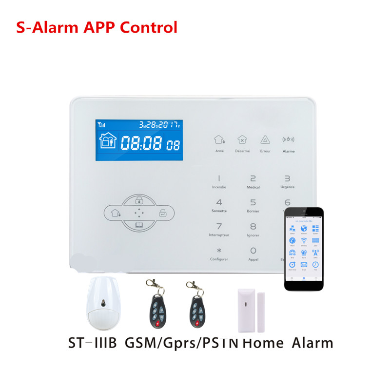French Voice Prompt ST-IIIB Wireless PSTN GSM Alarm System Smart Security Home Alarm With 32 Wireless Zone App Remote Control