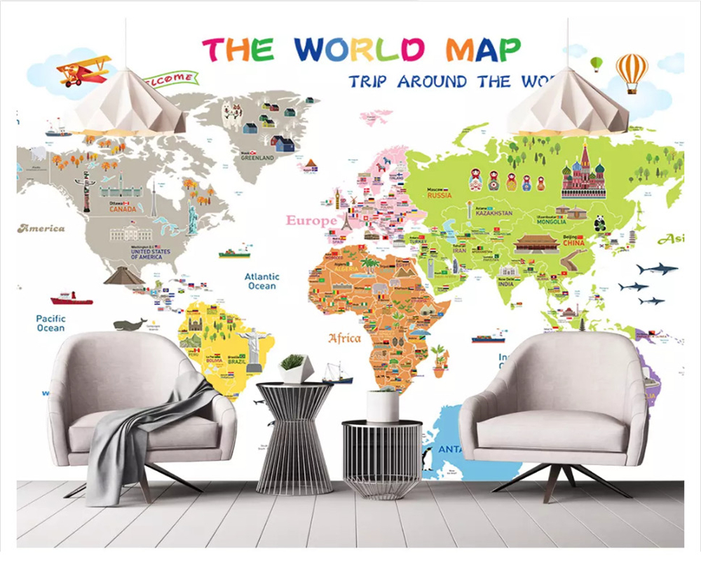 beibehang Custom fashion classic modern personality silky 3d wallpaper map suitable for office bedroom wall papers home decor in Wallpapers from Home Improvement