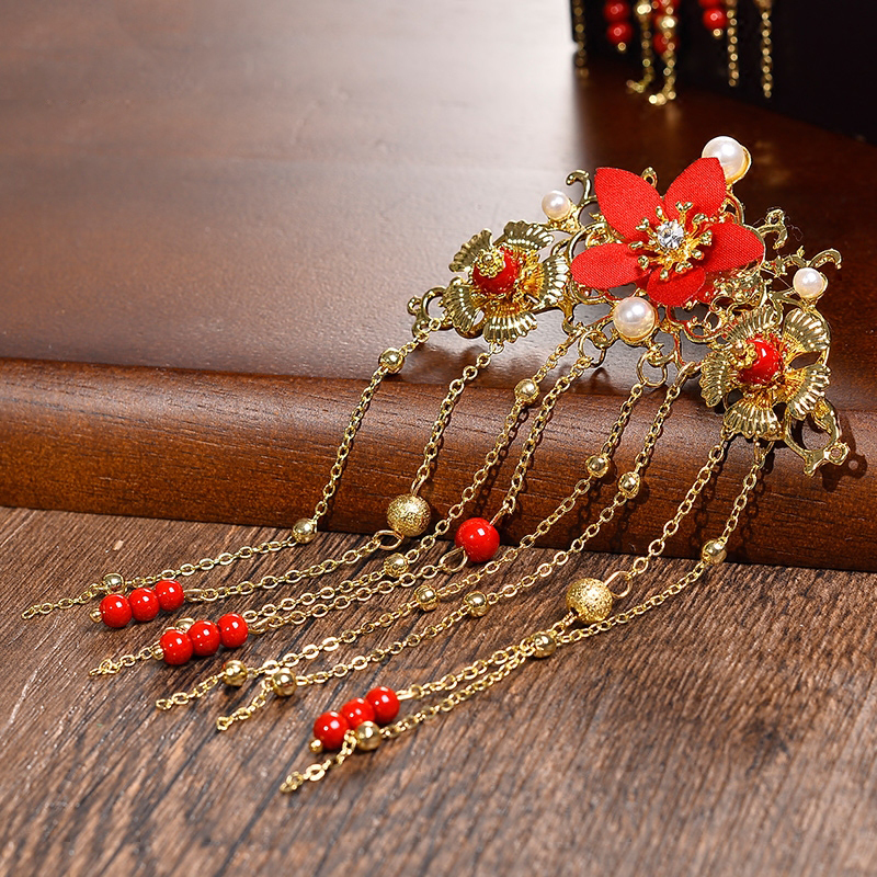 Traditional Chinese Gold Flower Red Pearl Hairpins Hair Stick Wedding Bridal Coronet Hair Jewelry Hair Accessories 5
