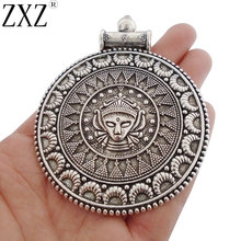 цены на ZXZ 2pcs Antique Silver Large Tribal Boho Bohemian Medallion Round Charms Pendants for Necklace Jewelry Making Findings 87x69mm  в интернет-магазинах