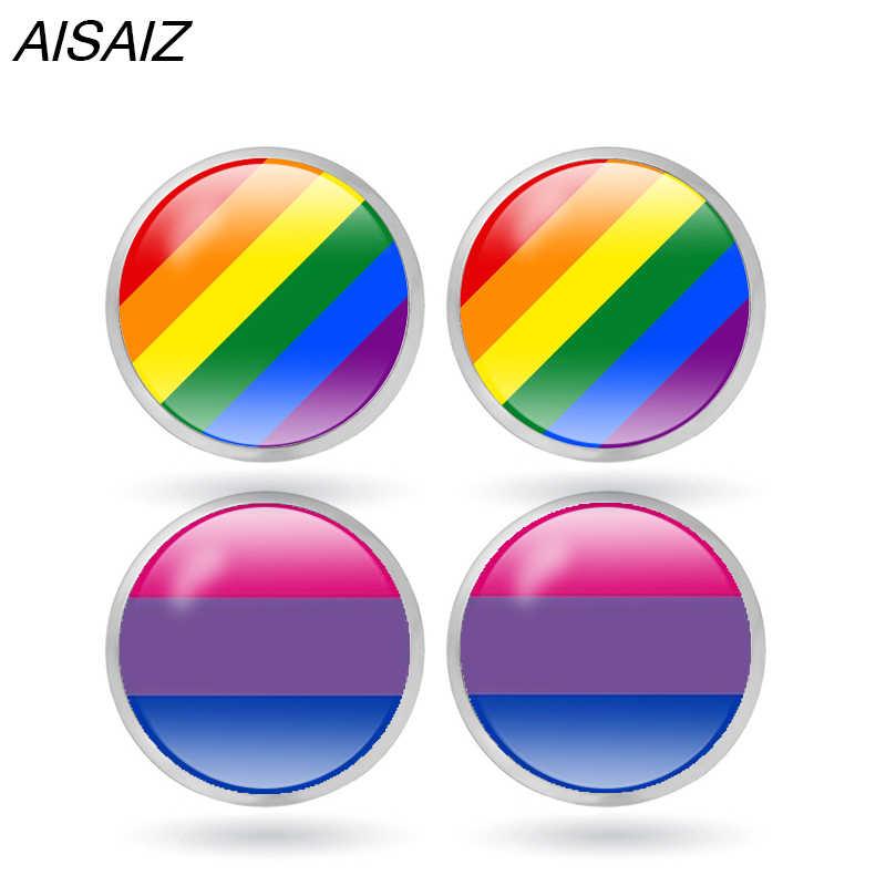 Neue 12 arten LGBT Stud Ohrringe Hypoallergen Ohr Nagel Homosexuell Stolz Schmuck Glas Cabochon homosexuell Ohrringe Weihnachten geschenke