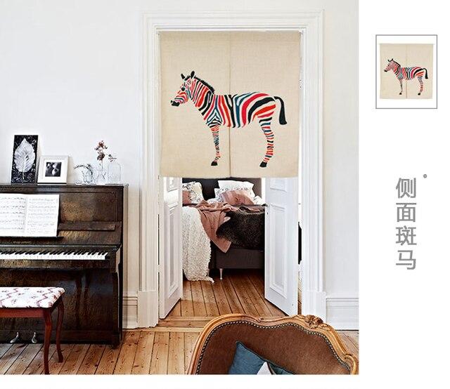 Japan Stil Cartoon Kinder Baumwolle Zebra Tür Vorhang Dekoration  Halbschatten Hängen Schlafzimmer Wohnzimmer Küche Home Bar