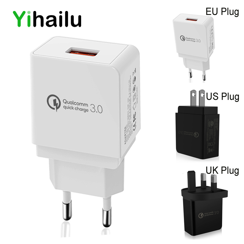 Cell Phone Wall USB Charge QC 3.0 18W Fast Charging 100-240V Universal Travel Charger Adapter EU US UK Plug for iPhone Samsung