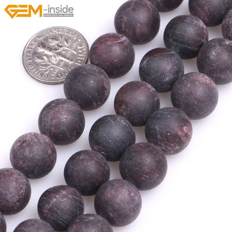 3c79de6bfecb Gema-dentro 4-12mm Piedra Natural perlas ronda Frosted Matte rojo granate  para la joyería que hace los granos 15   DIY perlas joyas