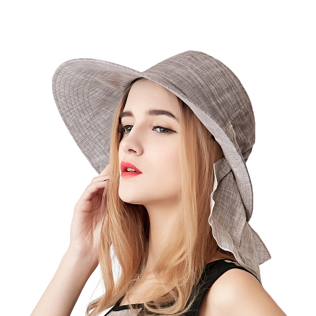 New Women Large sunbonnet female summer high quality outdoor cap folding windproof sunscreen anti-uv sun hat