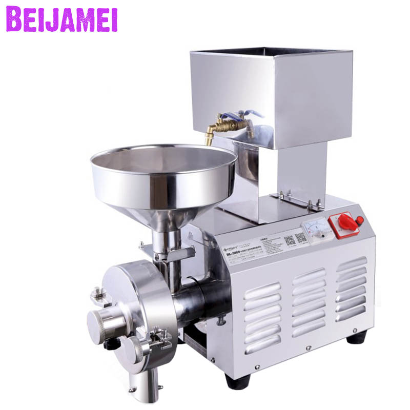 Beijamei 220V Commercial Flour Mill Pulverizer Cereal Grain Herbal Grinding Grinder Machine Electric Peanut Pulping
