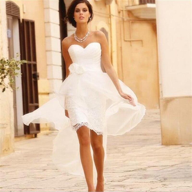 2017 High Low Lace Wedding Dresses Summer Style Chiffon