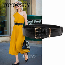 Luxury Women Genuine Leather Belts Retro Black Double Pin Buckle Crocodile Pattern Belt for Dress TOYOOSKY