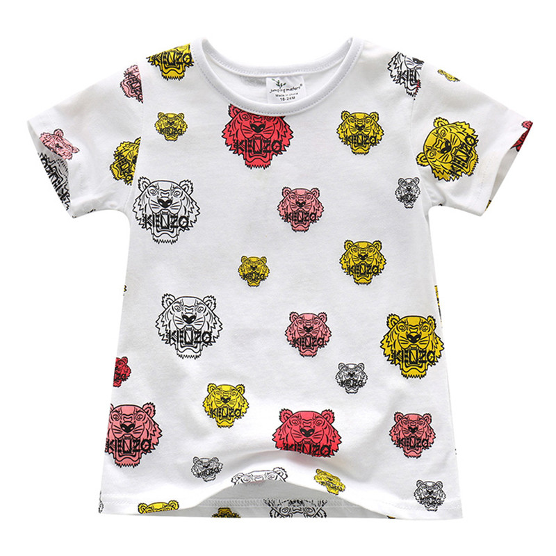 Springen meter Kinder Mädchen T Shirts Sommer Baby Mädchen kleidung baumwolle heißer verkauf Print tiger kopf Tops Kinder Kleinkind T-shirts Tees