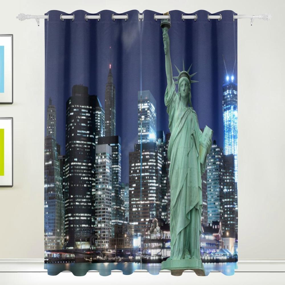 Statue of liberty new york city curtains drapes panels Blackout curtains city skyline