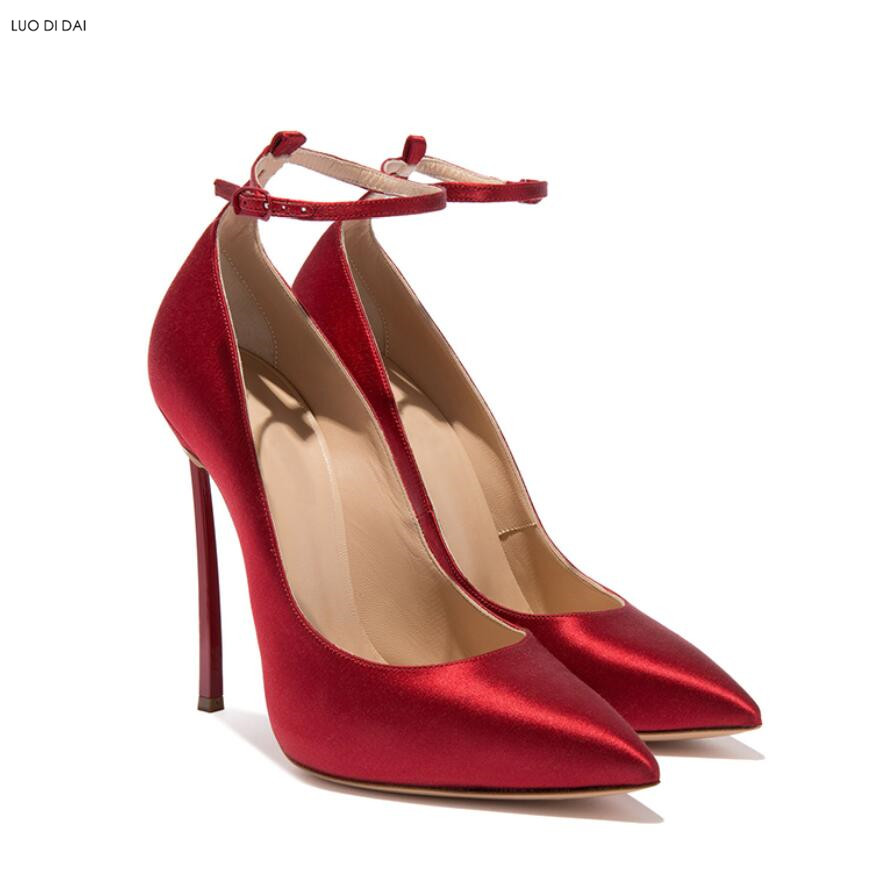 Robe Mariage Partie Chaussures Cheville De Nouveau Hauts rouge Dames 2018 Or Talons Pompes or Mince Noir Sangle Toe À Talon Femmes Point g6wzpq