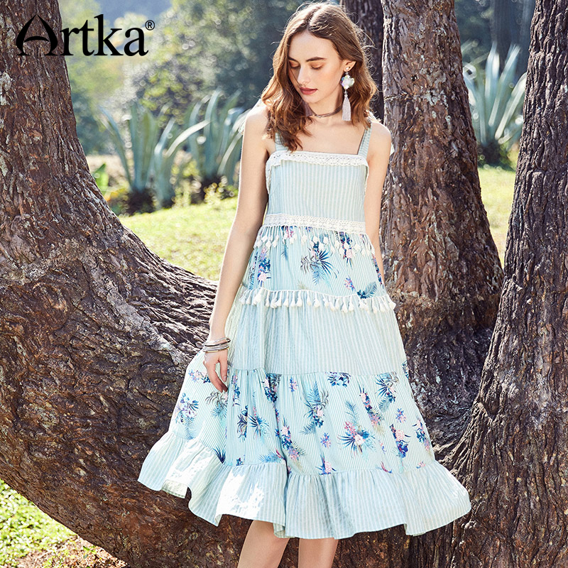 ARTKA Summer 2018 New Women Strap Fresh Floral Printing Lace Stitching Loose Waist Big Swing Tassels Dress LA10681C