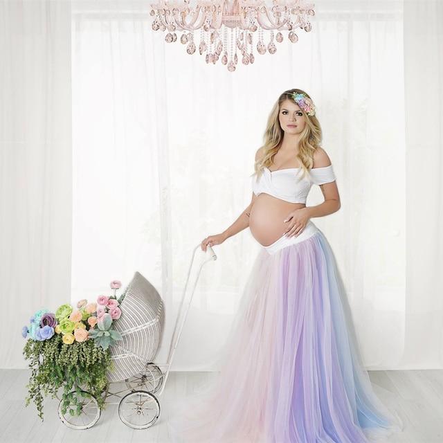 586c195b4e0b2 Maternity Photography Rainbow Tulle Dress Outfits Maternity Rainbow Tulle  Skirt Outfits Pregnant Sweet Heart Tops&Rainbow Skirt