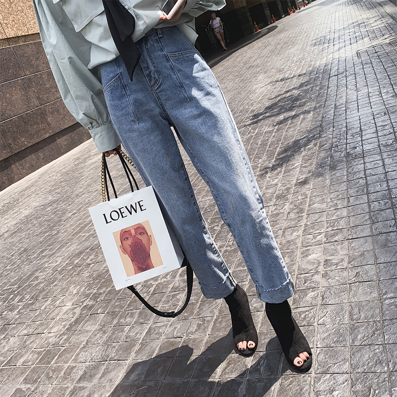 Mishow 2019 Women Slim Pencil Pants Vintage High Waist   Jeans   Full Length Pants MX19A2358