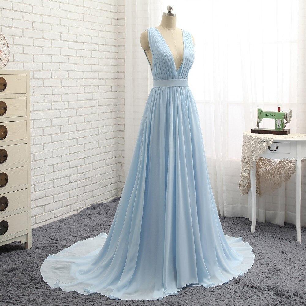 HVVLF 2018 Formal Celebrity Dresses A-line Deep V-neck Sweep Train Chiffon Sky Blue Backless Famous Red Carpet Dresses