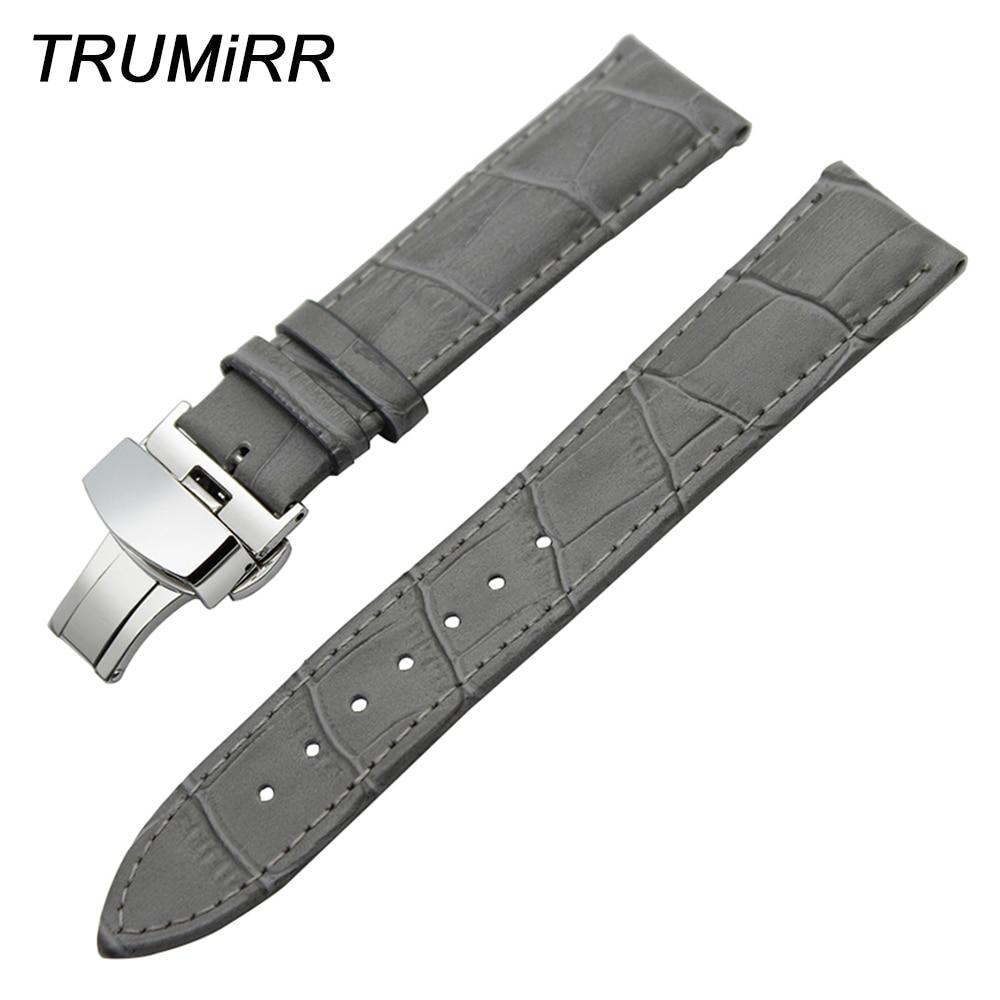 купить Genuine Leather Watchband Alligator Grain for Zenith Moser Paul Picot Watch Band Wrist Strap Bracelet Grey 18 19 20 21 22 24mm по цене 1495.27 рублей