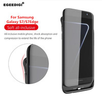 Egeedigi 5000mAh Battery Charge Case For Samsung galaxy S7 Edge slim Silicone shockproof External Power Bank Charging Case Cover