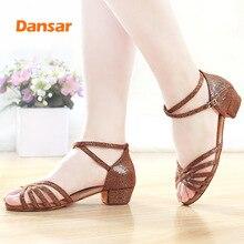 Children Tango Latin Dance Shoes High Quality Woman Dancing Shoe Wholesale for Girls Low Heel Salsa Sandals