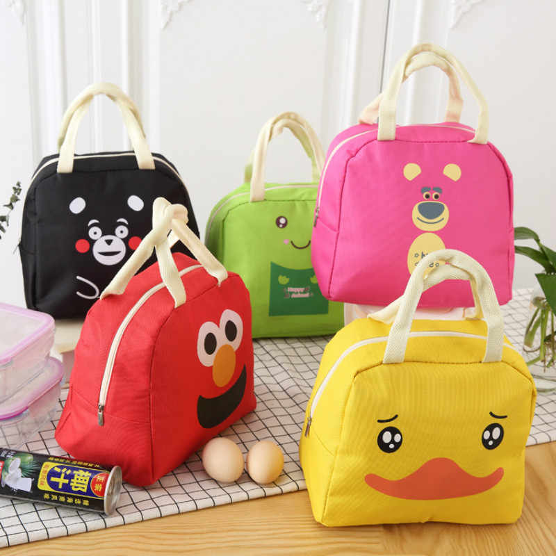 1pc cartoon canvas Lunch Box Bag Food Fresh Keep Waterproof  Travel Picnic case Thermal Insulated Fashion Storage Bags for kids