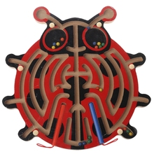 Scarab Wooden Magnetic Pen Maze Game Labyrinth Kids Learning Education Toys W30