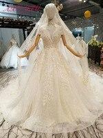 AXJFU принцесса цветок кружева свадебное платье Люкс включает вуаль Кристалл белое свадебное платье с жемчугом 100% настоящая фотография 378441