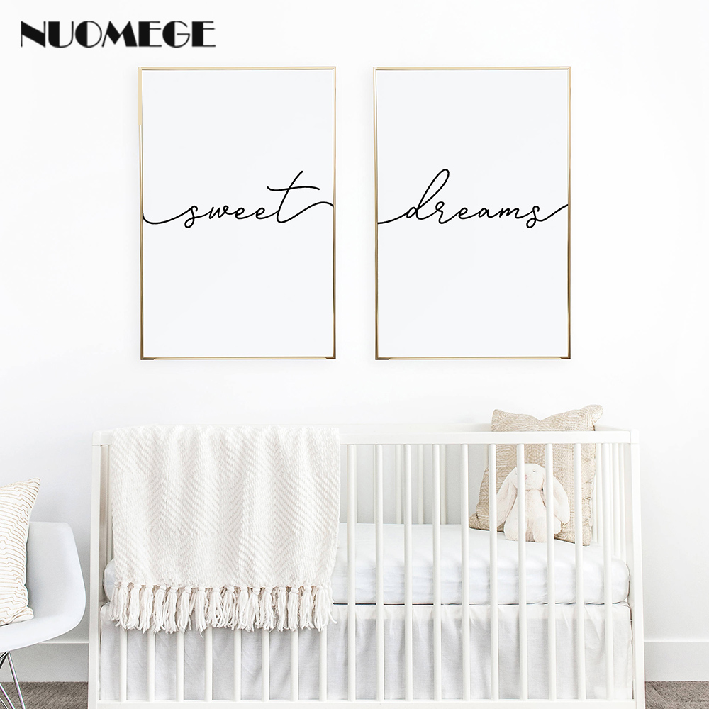 Minimalist Poster Nursery Print Sweet Dreams Canvas Painting Wall Art for Childs or Master Bedroom Decoration Picture