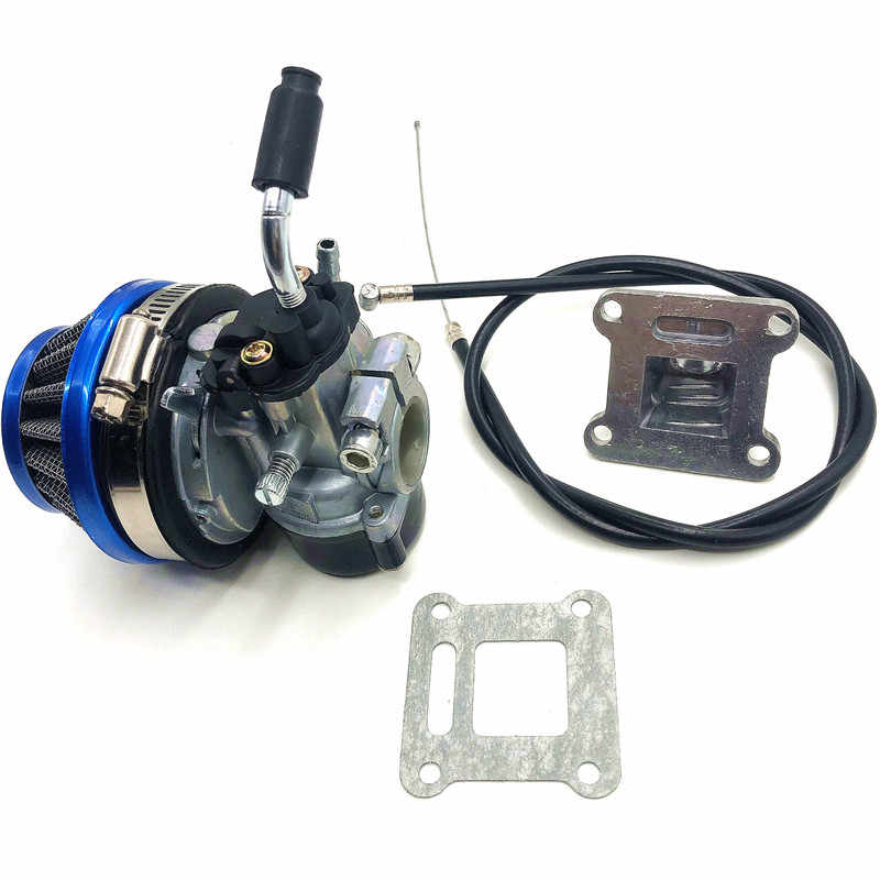 ATV 49cc Performance 19mm Carb Carburetor Air Filter Mainfold Assembly for 2-stroke 47cc 49 Cc Mini Pocket Bike