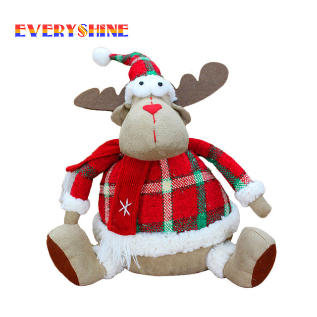2017 merry christmas xmas decoration moose doll reindeer figurines children gifts toys fabrics craft for home - Christmas Moose Home Decor