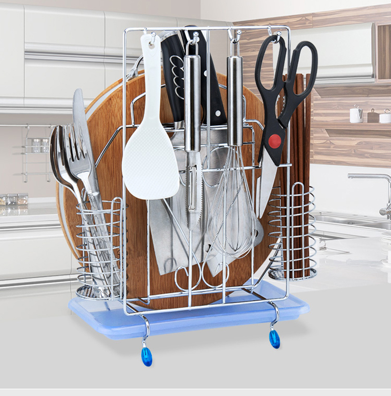 Knife Rack Multifunctional Stainless Steel Kitchen Knife Stand Chopsticks Seal Storage Basket010