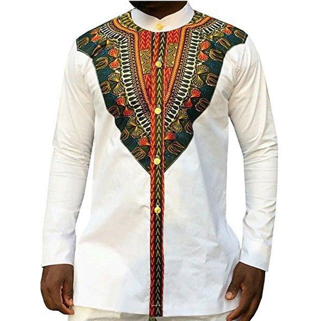 Mens Camisas de Vestido Dashiki Africano 2018 Marca Nova Camisa de Manga Longa Homens Casuais Camisa Hombre Roupas Impressão Étnica Tribal Africano