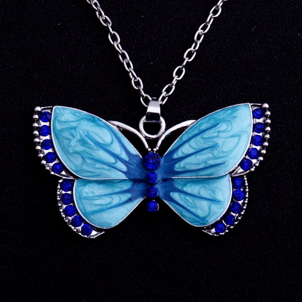 Women Crystal Rhinestone Enamel Butterfly Animals Pendant Necklace Chain Jewelry