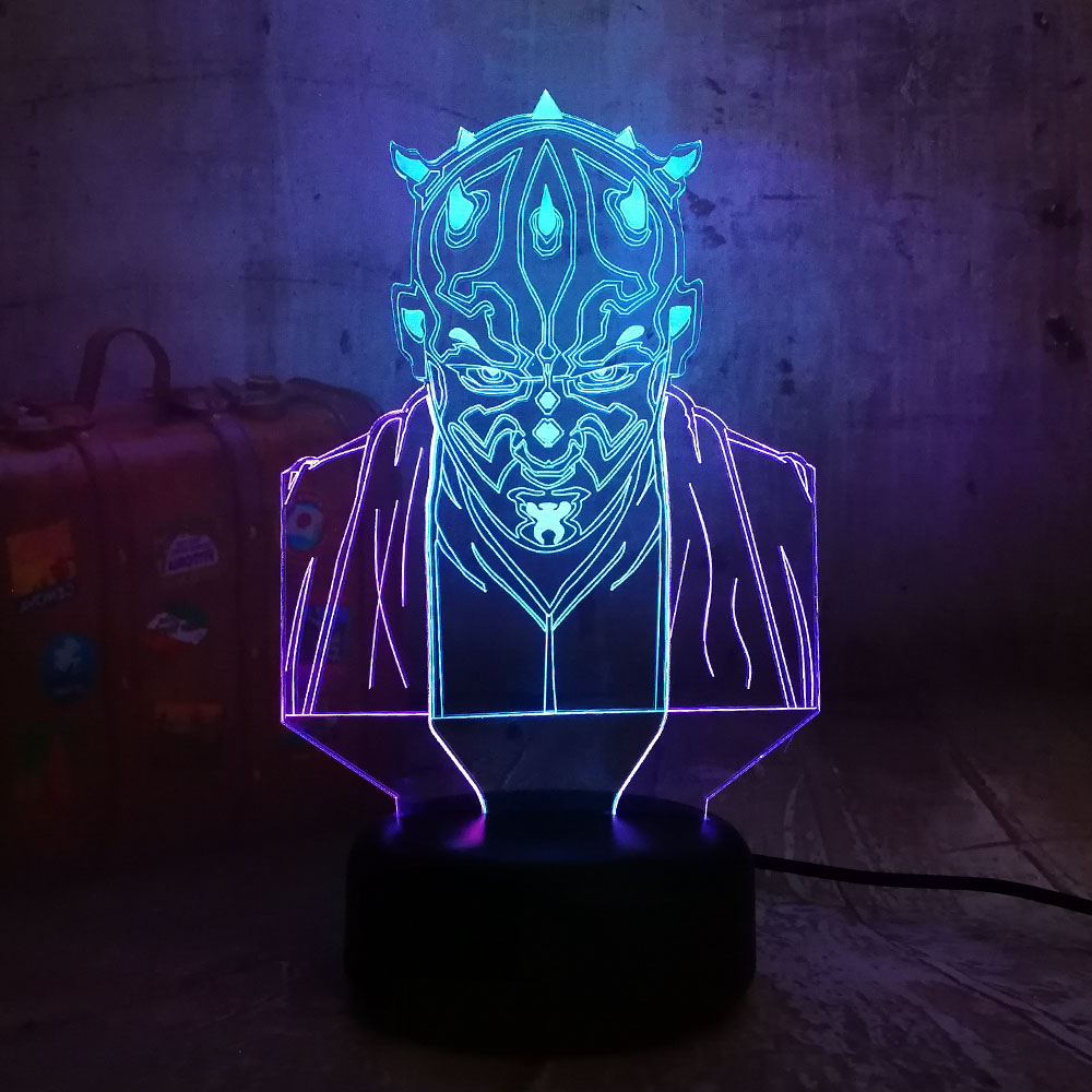 Star Wars Darth Maul Novelty 3D LED Night Light RGB 7 Mixed Dual Color Change Kids Birthday Gift Toys Fans Christmas Home Decor