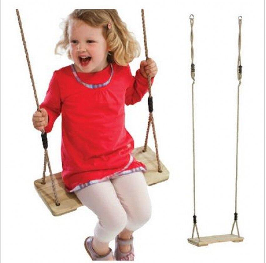 Bébé en bois dur enfants balançoire jardin extérieur parc jouer siège suspendu sport balançoires