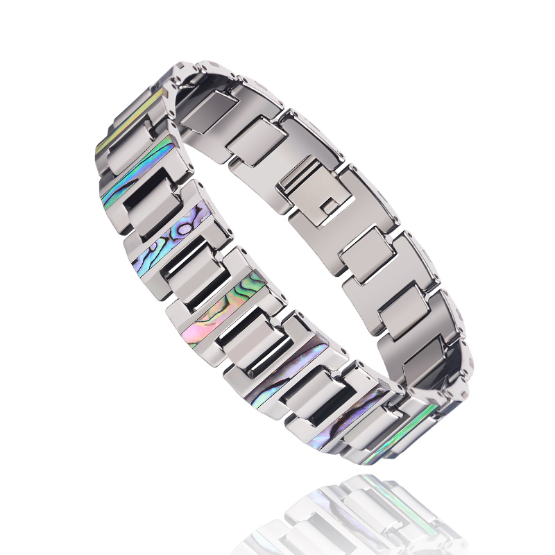цена на Free Shipping 16mm Width Tungsten Carbide Bracelet Inlay Deep Sea Shell For Man Jewelry With Free Gift Box