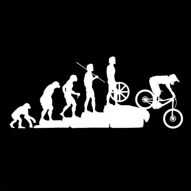 23*9.5CM Long Human Evolution From Apes To Mountain Bike Car Sticker for Window Bumper Car Styling Reflective Vinyl Decal