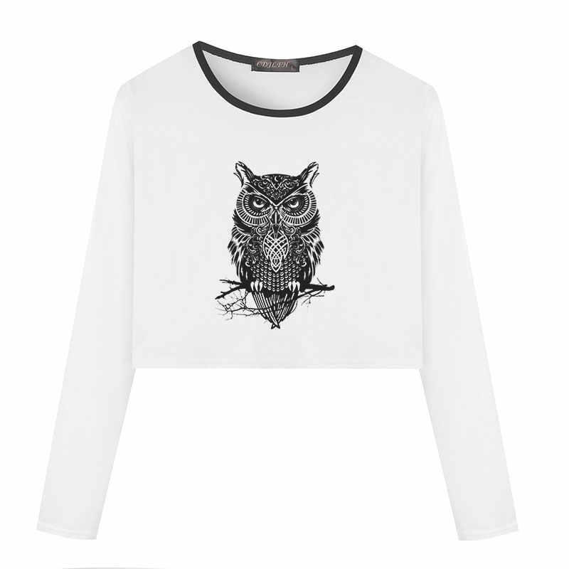 1a0f362d238 2018 Casual T Shirt Women Owl Print Long Sleeve Crop Top Korean Style Vogue  White Women