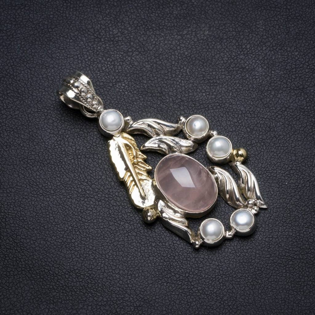 Natural Two Tones Rose Quartz andRiver Pearl Handmade Unique 925 Sterling Silver Pendant 2.25