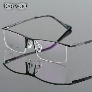 Image 3 - Oprawki optyczne ze stopu aluminium pół obręczy receptę mężczyźni prostokątne zielone okulary biznes sportowe spektakl 823022