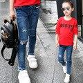 2017 Primavera Outono Meninas Jeans Crianças Quebrado Fresco Lavagem Denim Calças Meninas Cintura Elástica Calças Moda Infantil Roupas Para 5-14Y