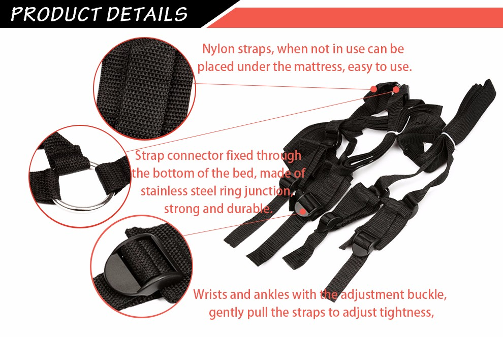 Bed Restraints adjustable Sex Bondage Restraints Bdsm Fetish Kit Love Sexy Hand Ankle Adult Games Erotic Sex Toy For Couples 2