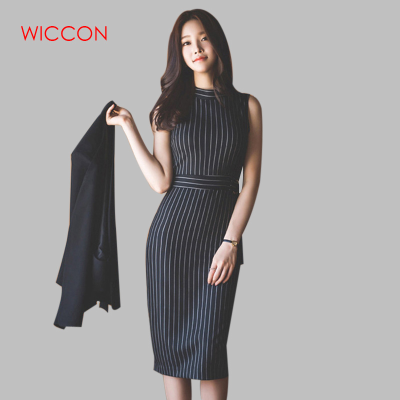 New Women Spring Fashion 2 Piece Sleeveless Stripe Dress Suit Business Black Cloak Coat Suit Shawl Two-piece Sets Free Belt