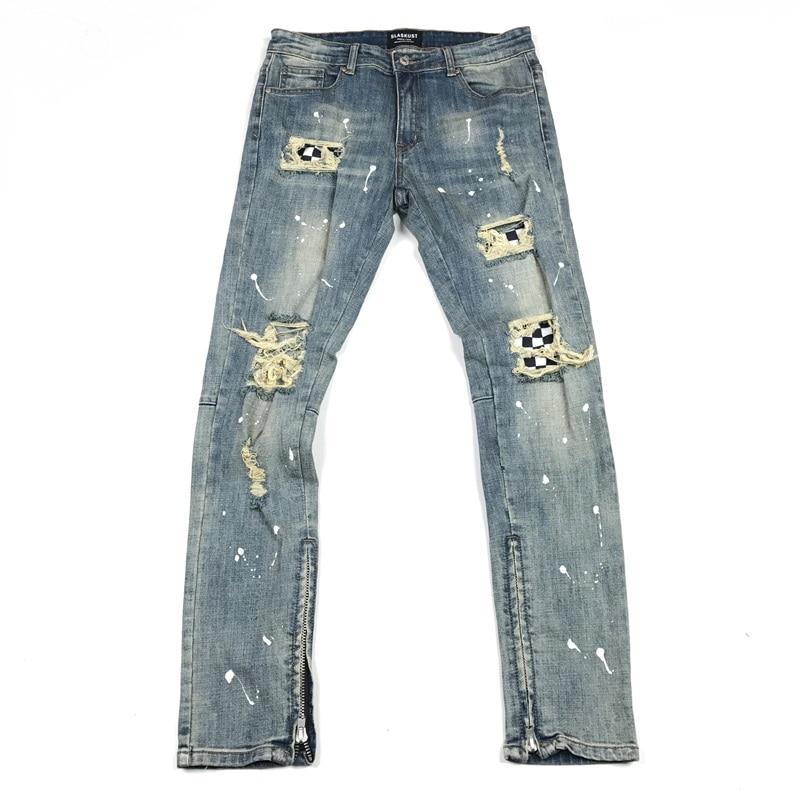 Checkered Patchwork At Knee Slim Biker   Jeans   Hip Hop Ripped Denim Pants Zipped Ankles Streetwear