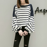 European 2017 Autumn New Style Loose All Matched Stripe Off Shoulder Batwing Sleeve Hoody Large Yards