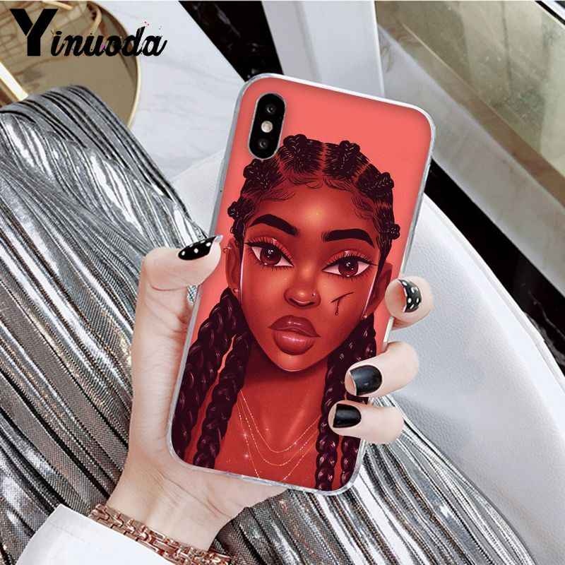 Yinuoda afrykańskie piękno Afro Puffs czarna dziewczyna nowość etui na telefony dla Apple iPhone 8 7 6 6S Plus X XS MAX 5 5S SE XR okładka