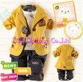[Bosudhsou] Children Clothing Hot Sell Autumn Baby Clothes Set Boy Suit Coat+T-shirt+Pants 3 pcs Infant Thick Garment Wholesale