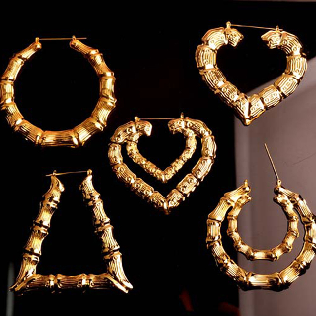 Fashion 8cm Creole Earrings Gold Tone Bling Hoop Bamboo Oversized Loop